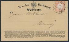 Dt. Reich 2 Kreuzer kleiner Schild Postkarte Eichicht 1872 nach Chemnitz (S14865