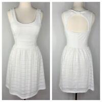 Candies Womens Sz M White Lace Keyhole Open Back Eyelet Summer Sundress Dress