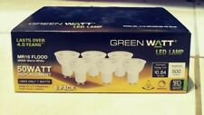 6 Pack Green 50 Watt LED Lamp MR16 Flood 3000k Warm White GU10