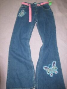 nwt Circo butterfly applique slight flare belted jeans girls 16 free ship USA