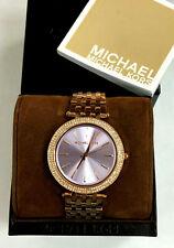 Michael Kors MK3400 Darci Purple Dial Rose Gold-tone Ladies Watch WARRANTY