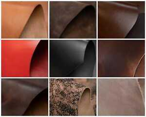 53x25cm VEG TAN LEATHER COWHIDE OFFCUTS  -Selection 9 Colours & Thickness-