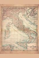 Old Italy 1883 Historical Antique Style Map Poster 24x36 inch
