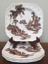 Johnson Brothers THE OLD MILL Brown Multicolor Square Salad Plates ~ Set of Four