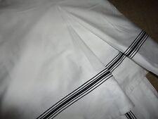 "BALLARD DESIGNS AMELIE BLACK STRIPE TAILORED QUEEN BEDSKIRT 15"" DROP SPLIT"