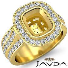 Cushion Semi Mount Halo Bezel Diamond Engagement 18k Yellow Gold 1.65Ct Ring