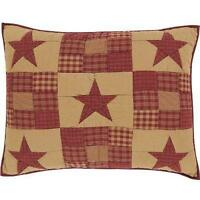 "Ninepatch Star Standard Quilted Sham 21"" x 27""  Patchwork Stars Rustic"