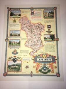 "Six Maps By Ernest Clegg 1946 Historic vintage Derbyshire Prints 22.5"" X 17"""