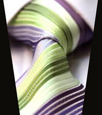 Rainbow Striped Mens Tie Lime Green Purple Lilac White Stripes