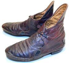 vtg Antique 1800 Early American Latchet Brogan Leather Shoes Civil War Victorian