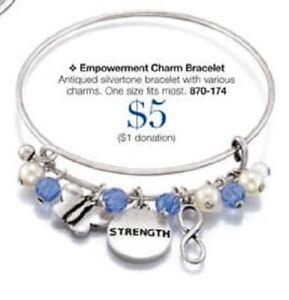 Avon Speak Out Against Domestic Violence Empowerment Charm Bracelet