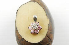 925 Sterling Silver Pink Flower Shaped Pendant Embedded With Small CZ Zircons