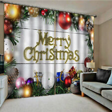 Curtains, Kids Themed Funny Happy Christmas Design, Living Room Bedroom Window 2