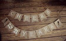 Anniversary Birthday Burlap Banner, Cheers to 50 Years,21st 30 40 BIRTHDAY party