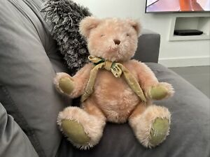"""Harrods Rose Pink 14""""sat Teddy Bear With Scarf See Details Rare Discontinued"""
