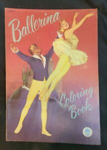 1951 Ballerina Coloring Book -Merrill Publishing Co- 10.5x15 EXCELLENT CONDITION