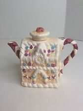 Hermitage Pottery Loomco Gumdrop Candy House Teapot Ceramic Trinket Hand Painted