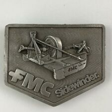 Vintage FMC Farm Machinery Sidewinder Belt Buckle Pewter Farming 3""