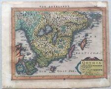 Original Kupferstichkarte aus MERCATOR - GOTLAND, um 1630, altkoloriert, Ostsee