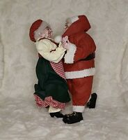 Santa & Mrs. Claus Fabric Mache Figure Dancing Christmas Holiday Statue Unbrande