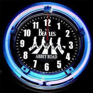 "THE BEATLES - ABBEY ROAD LOGO - 11"" Blue Neon Wall Clock"