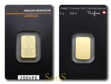 5g Argor Heraeus Goldbarren 5 Gramm 9999 Feingold Gold Barren mit Zertifikat