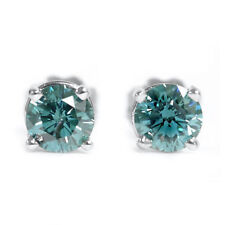 Diamantohrstecker 0.18Ct. Blau in 585/14K Weißgold  - VS Qualität - Zertifiziert