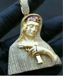 14K Yellow Gold Fn Round Diamond Women Studded Mother Marry With Gun Pendant