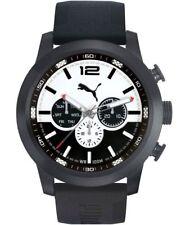 Puma PU104271002 Armbanduhr Herren Kautschuk Edelstahl schwarz 10 ATM 48mm weiß