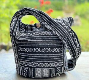 Hippie Hobo Sling Crossbody Bag Woven Aztec Ikat Boho Shoulder Hobo Book Purse