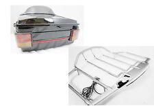Vivid Black Harley HD Tour pak with Air Wing LED top Rail,liner,light bar
