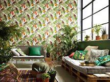 6302-07-) moderne Vliestapete Paradisio Papageien Vögel Blätter
