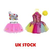 UK Kids Girls Jazz  Hip Hop Dancewear Sequined Ballet Leotard Dress Gym Costumes