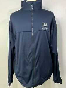 United States Olympic Committee Mens Navy Blue Full Zip Track Jacket Size 3XL
