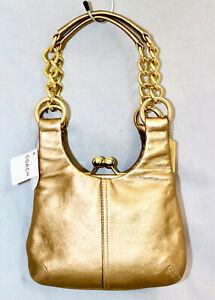 NWT $348 COACH Madison Mini Hobo 12245 Gold Leather Chain Handles Evening Bag