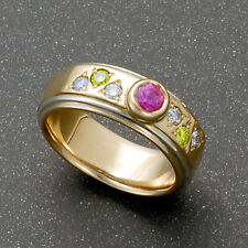 Unique Contemporary 14kt Yellow Gold Pink Sapphire Diamond Designer Ring Size 6
