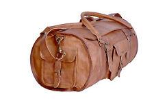 "20"" Men's genuine Leather gym vintage flap duffel travel weekend overnight bags"