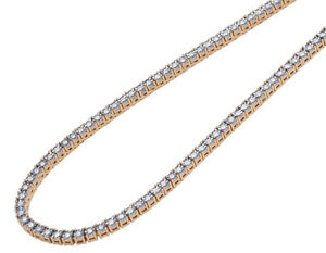 "Rose Gold 1.5 Pointer Genuine Diamond Illusion Set Tennis Chain 3MM 16-24"""