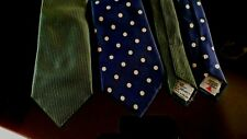 2 TURNBULL & ASSER LTD TIES LONDON HAND MADE 100% SILK MADE IN ENGLAND BLUE GRE