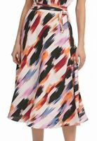 DKNY Womens Midi Skirt Black Pink Orange Size 8 Faux-Wrap Brush-Stroke $109 292