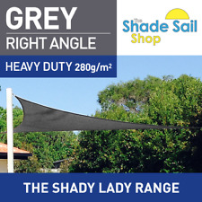 Right Angle Grey 6m X 7m X 9.22m Shade Sail Sun Heavy Duty 280GSM Outdoor Grey