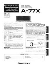 Pioneer A-77X Amplifier Owners Manual