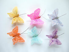 12 Pastel Vein Feather butterflies, 6 assorted pastel colours,