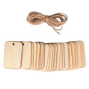 50pcs Ornament Wood Planks Tags Wooden Hanging Labels Sheet DIY Engraving Cra BA