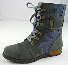 Sorel Major Carly Womens size 10 Blue Gray Suede Military Combat Boots