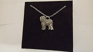 English Sheepdog R125 English Pewter on a Silver Platinum Plated Necklace 18""