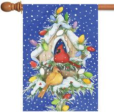 New Toland - Cardinal Lights - Christmas Winter Bird Snow Birdhouse House Flag