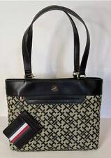 New Tommy Hilfiger Women Shoper Tote Handbag Black Monogram Shopper Bag w/Pouch
