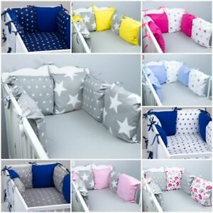 PILLOW BUMPER made from 6 cushions for cot bed GREY PINK BLUE NAVY STARS DOTS