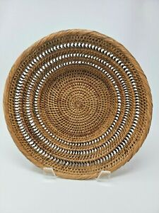 """Pair of Rattan / Wicker Centerpiece Bowl Large 12 1/2"""" Wide x 4"""" High Basket"""